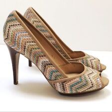 Nine West 8 Urdivineo Heels Peep Toe Multicolor Wood Heel Chevron Pastels Nude