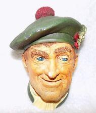 "Vintage Bossons Chalkware Head Hand Painted England 1969 Jock 6 x 4"""