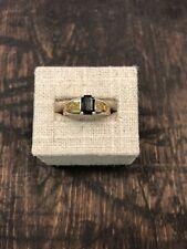 Circa 1960 Estate 14K Yellow Gold 1.15 Carat Green Sapphire and Citrine Ring