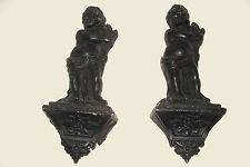 Vintage Pair Aluminum Cherub Angels Hollywood Regency Wall Plaque Figurines