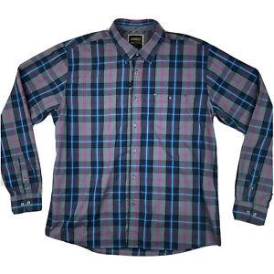 Hansez Button Up Dress Shirt Mens Size 3XL With Pockets Plaid Purple Blue