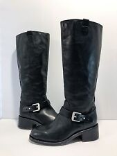 Rag and Bone Tall Black Leather Zipper Buckle Boots 36 Moto A30