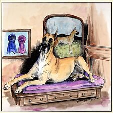 """Great Dane Watercolor, Signed Yvonne Sovereign, 15.25"""" by 15.25"""" Framed"""