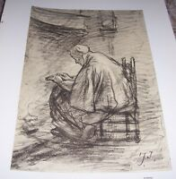 1911 CRAYON STUDY FOR HONOURED OLD AGE by Josef Israels Color Print
