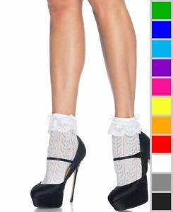 New Leg Avenue 3033 Crochet Heart Lace Top Anklet Socks