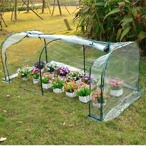 Transparent Poly Tunnel Frost Protect Greenhouse Small Plant Garden Veg Portable