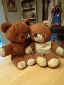 """2 Vintage  Stuffed Plush Teddy Bears~Well Loved~14""""~1 Knickerbocker~"""