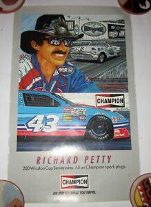 "Richard Petty poster 12"" x 19"" Champion Spark Plugs NASCAR 200 Winston Cup Wins"
