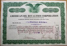 American Oil Royalties 1919 Stock Certificate: L. Sherman Adams Eisenhower Admin