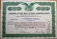 American Oil Royalties 1919 Stock Certificate: L. Sherman Adams Eisenhower Admin