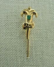 Emerald Gemstone 2.51 Grams Vintage Aacd Casa Castro Solid 18K Yellow Gold Pin