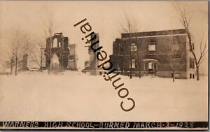 Real Photo Warners High School Fire 1928 At Syracuse NY New York RP RPPC D166