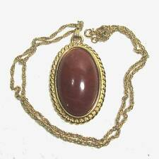 MONET pendant & chain w 42mm x 25mm red jasper cabochon B19