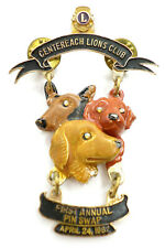 3 Dogs Jeweled Eyes Centereach 1st Annual 1982 Pin Swap High Relief Lions Club