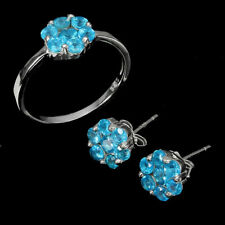 Earring Ring Neon Blue Apatite Genuine Gems Sterling Silver Size M US 6.25