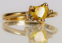 VINTAGE DESIGNER SIGNED 14K YELLOW GOLD HEART CITRINE RING DIAMOND ACCENTS S4.5