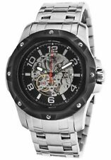Brand New! Invicta 16126 Mens Mechanical Silver and Black Skeleton Dial Watch