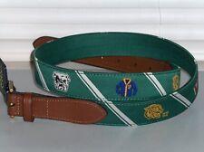POLO RALPH LAUREN Men's Varsity Collegiate Belt, Leather & Nylon, Brass Buckle