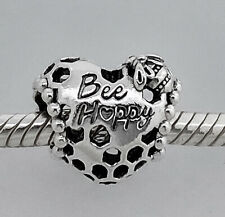 New 100% Authentic PANDORA 925 Bee Happy Honeycomb Heart Charm 798769C00