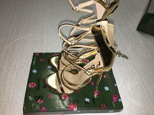 FSJ Women's Shoes Gold Gladiator Heels Size 8