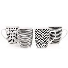 Sabichi 4 Piece Mug Set Geo Sketch Quality Porcelain Dishwasher Microwave Safe