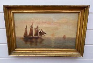 Antique 19th Century Boston Harbor Dawn Sailing Ship Oil Painting