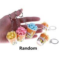 Cute Popcorn Keychain Keyring Key Ring Chain Keyfob Fashion Purse Bag Pendant