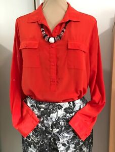 """""""OLD NAVY"""" size L (14) RED SHIRT Long sleeves COLLAR Tab sleeves"""