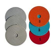 4 Inch 3 - Step Set Diamond Polishing Pads for Granite Concrete Marble Stone