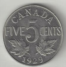 CANADA,  1929,  5 CENTS,  NICKEL,  KM#29,  ALMOST UNCIRCULATED