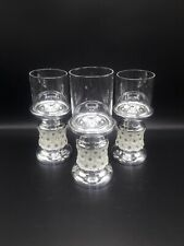 GLASS SILVER DIAMOND FLOWER SET OF 3 CANDLE HOLDERS