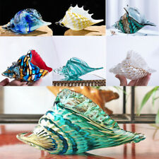 H&D 3D Hand Blown Glass Art Style Seashell Conch Sculpture Ocean Multi-color