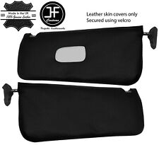 BLACK REAL LEATHER 2X SUN VISOR COVERS FOR MERCEDES SL C107 R107 1971-1989