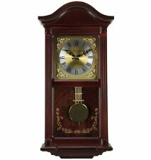 """Traditional Mahogany Cherry Wood 22"""" Wall Clock with Pendulum and 4 Chime Modes"""