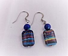 RAINBOW CALSILICA RECTANGULAR AND  ROUND DANGLE EARRINGS SURGICAL STEEL NEW
