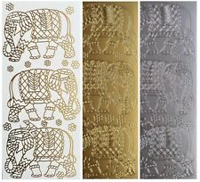 INDIAN ELEPHANTS Peel Off Stickers Flowers Orient Card Making Gold or Silver