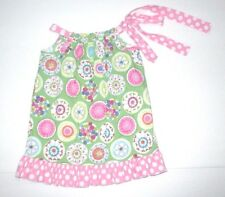 INFANT GIRLS BOUTIQUE HALEY AND THE HOUND PINK & GREEN PINWHEEL DRESS SIZE 12 M