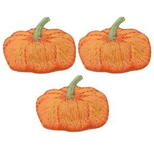 "Pumpkin Applique Patch - Halloween, Thanksgiving Badge 1-3/8"" (3-Pack, Iron on)"