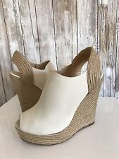 $695 GUCCI Off White Leather Wedge Platform Open Toe Sandals Shoes 38 7.5 RARE!