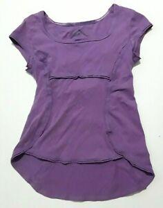 PrAna Breathe Naturally Yoga Top Women's Small Purple Hemp Organic Cotton Shirt