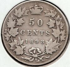 1898 - Canada - 50 Cent Piece - Sterling Silver - Queen Victoria - Superfleas