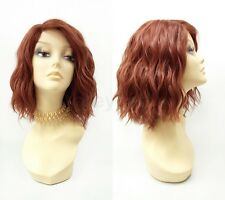 Pre-Trimmed Lace Front Bright Auburn Red Wavy Lob Wig Short Heat Resistant 12""