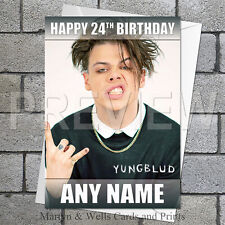 Yungblud birthday card. 5x7 inches. Personalised, plus envelope.