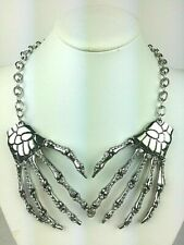 Crystal Studded Silver Bone Hand Necklace - Great for Halloween!