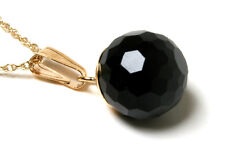 """9ct Gold Black Onyx 8mm Ball Pendant Necklace and 18"""" Chain Boxed Made in UK"""