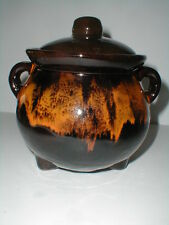 Royal Canadian Art Pottery DEEP BROWN ORANGE LAVA DRIIP Bean Pot Canada