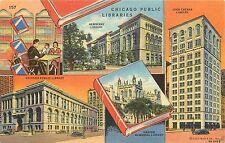 Unposted Linen Multi-View Postcard Chicago Public Libraries Curt Teich