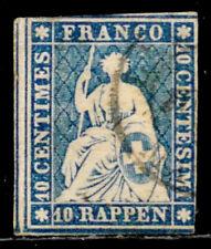 SWITZERLAND: 1858 19TH CENTURY CLASSIC ERA STAMP SCOTT #37 SOUND