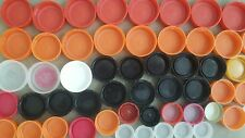 60 + Used Plastic Bottle Caps, screw top, mixed colors and sizes