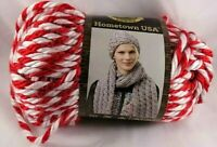 Lion Brand Hometown USA Yarn Razorbacks Super Bulky Knit Crochet Red White Twist